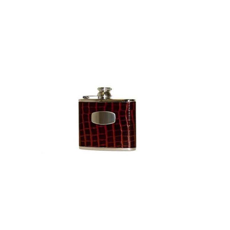 Bisley Hip Flask 4oz Mock Croc Brown